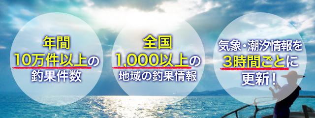 年間10万件以上の釣果件数。全国1000以上の地域の釣果情報。気象・潮汐情報を3時間ごとに更新!